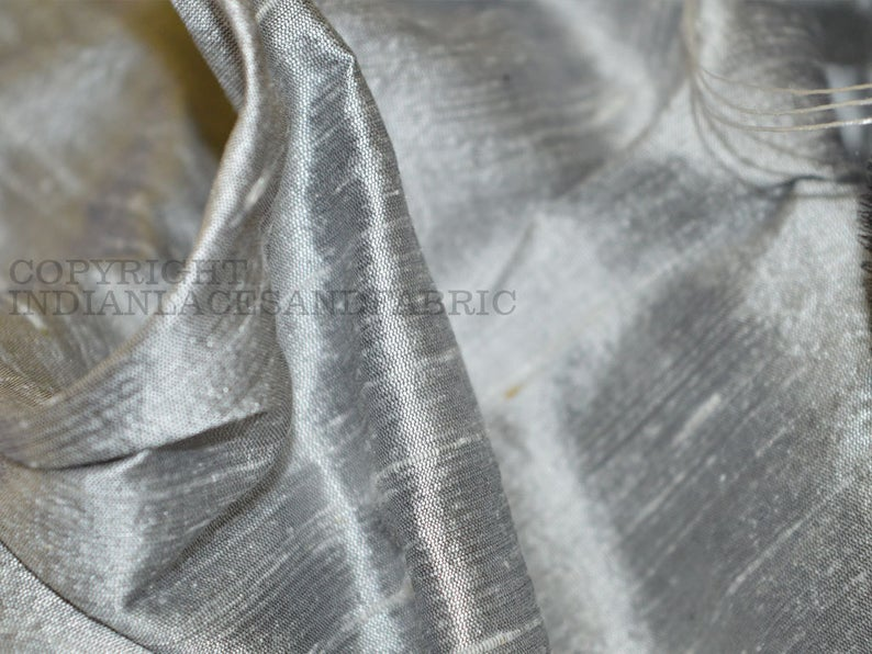 Plain Dyed Faux Dupion Raw Silk 100/% Polyester Fabric Craft Material SILVER GREY