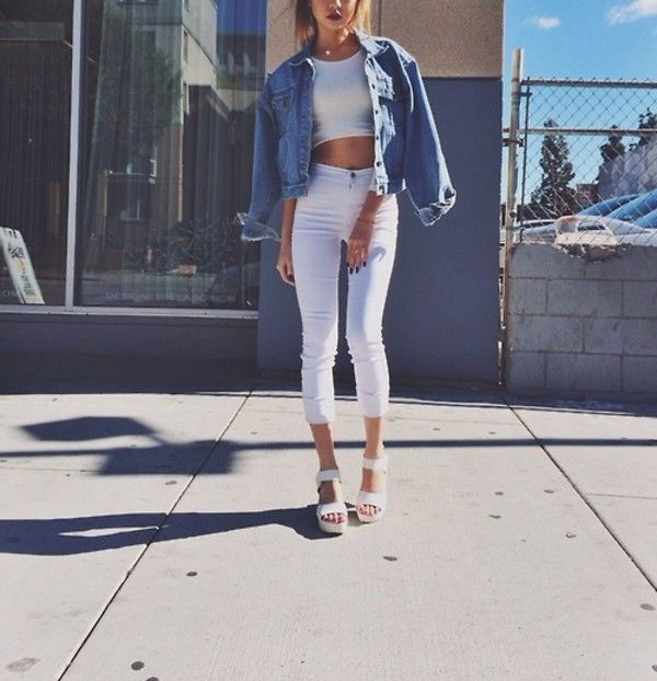 high waisted jeans white sneakers converse white crop top tank ...