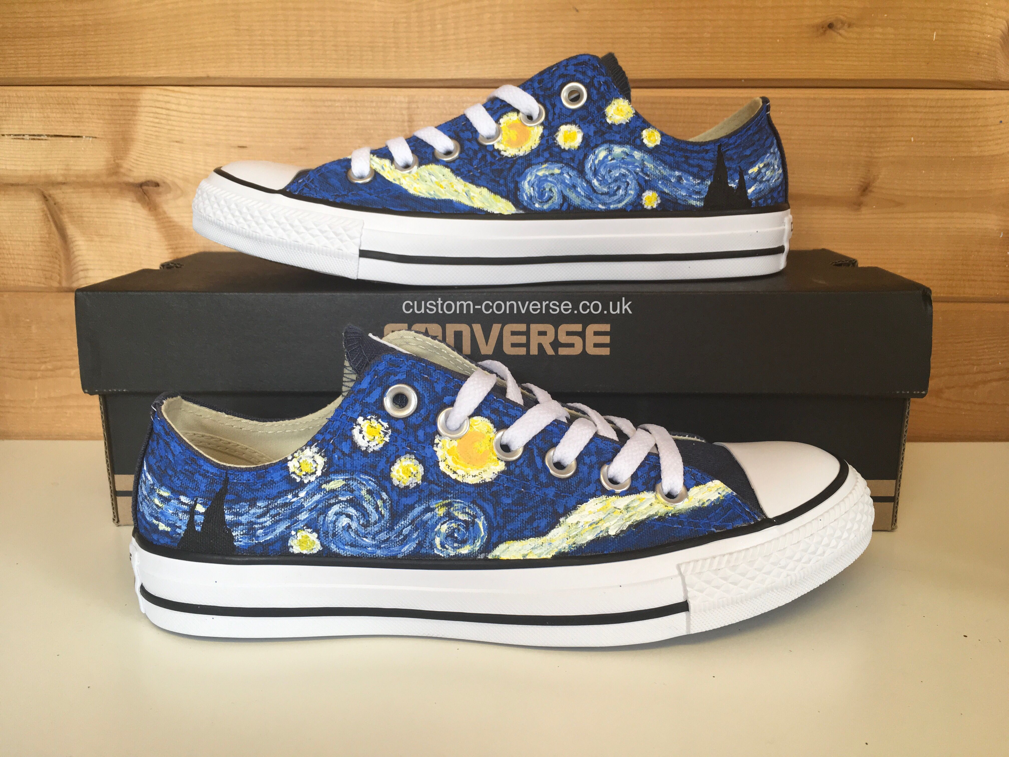 d9e286990fe3e Low top Starry Night Converse   Painting in 2019   Painted converse ...