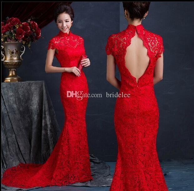 e0efc9b6b02a Lujo Rojo de seda de encaje Vestidos chinos delgados Largo Cheongsam ...