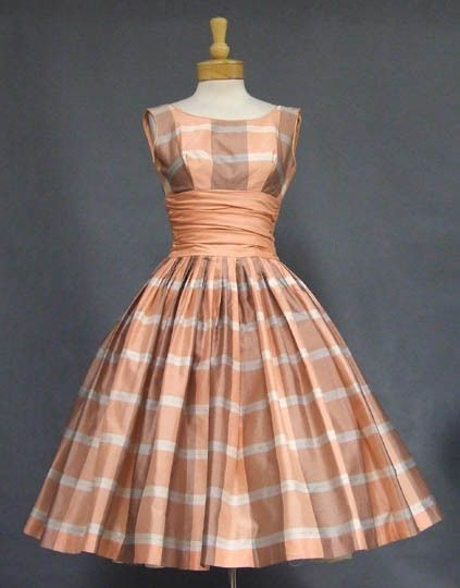 Terrific Peach Plaid 1950's Party Dress - 1950s party dresses, Vintage outfits, Vintage dresses, Vintage formal wear, Fashion, Dresses - Authentic vintage clothing and eyewear from the 1940's, 1950's and 1960's   Gorgeous selection of vintage evening wear, vintage prom dresses and vintage wedding dresses, plus suits, sun dresses and more!