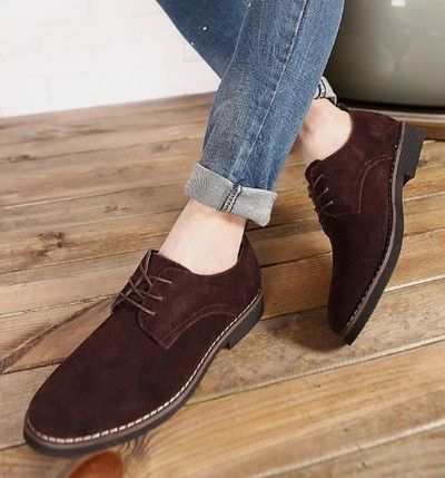 Handmade Trendy Coffee Suede Lace Up Men's Formal