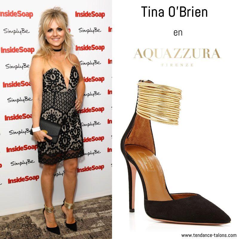 """Tina O'Brien en escarpins """"Hello Lover"""" signés Aquazurra au Inside Soap Awards à Londres"""