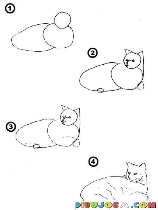 Como Aprender A Dibujar Un Gato En 4 Pasos Para Pintar Y Colorear Colorear Como Aprender A Dibujar Como Aprender A Dib Animal Drawings Drawings Cat Tattoo