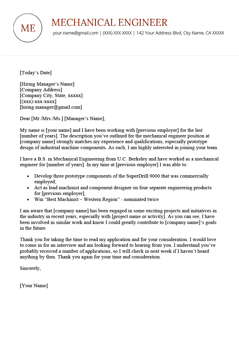 Mechanical Engineer Cover Letter Example | Resume Genius ...