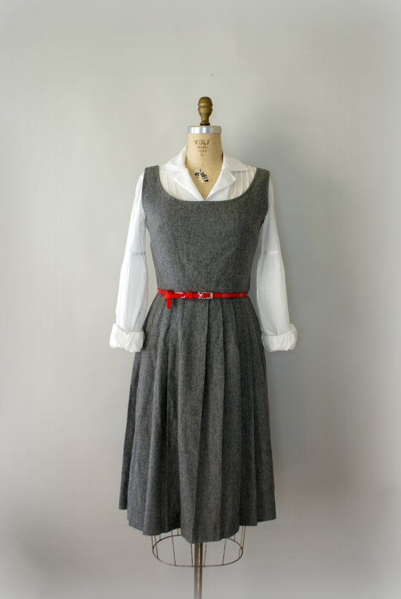 0e084a870 RESERVED LISTING Vintage 1950s Grey Wool Pleated Jumper Dress ...