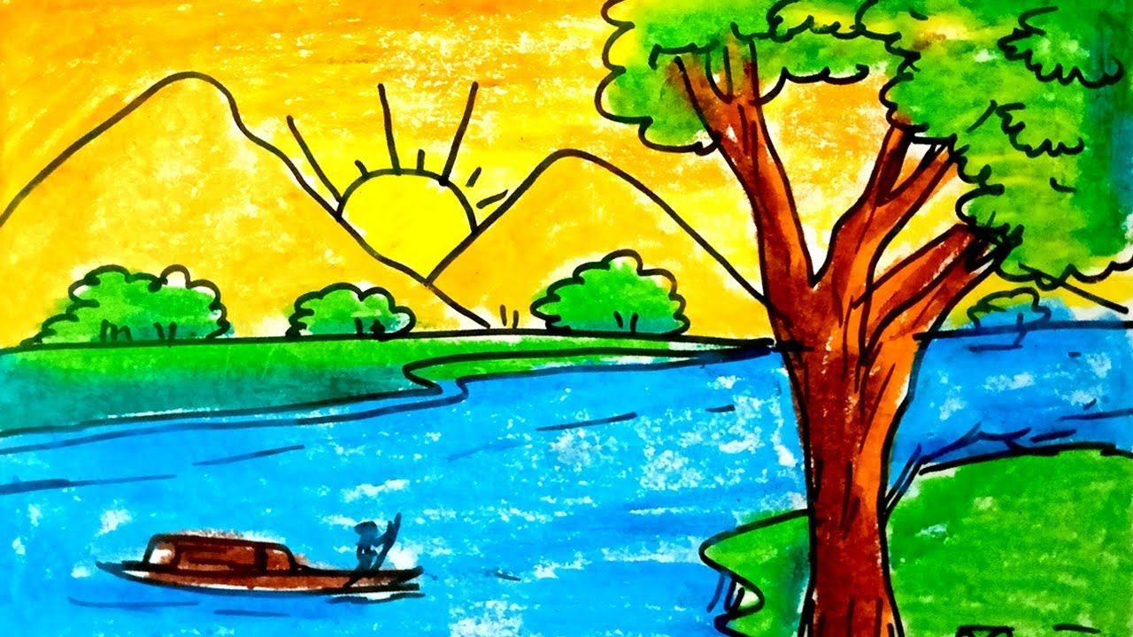 How To Coloring Easy Sunrise With Oil Pastel Easy Scenery For Kids Art Drawings For Kids Flower Drawing Images Sunrise Drawing