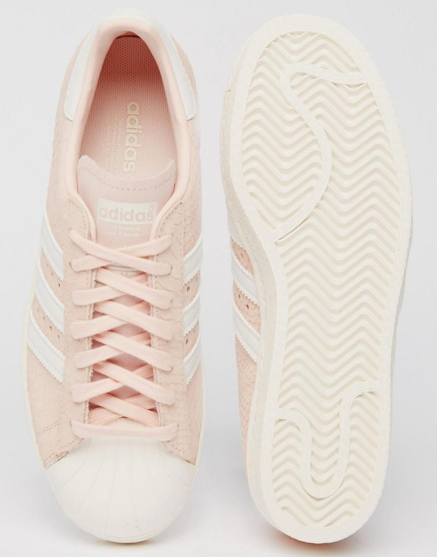 info for 201a5 83ed3 Pink   adidas Originals Blush Pink Superstar 80 s Sneakers at ASOS