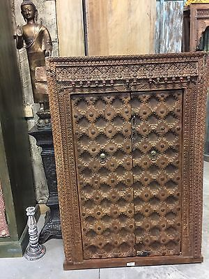 Antique Indian Floral Carved Window Frame Double Door Panels Wooden