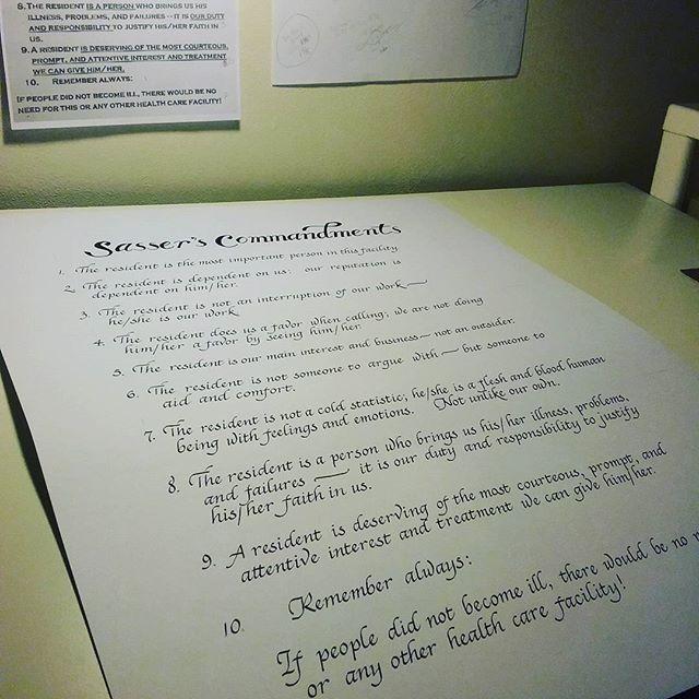 lettering,etsyshop,thirdsisterhandmade,rules,poster,nursinghome,sheafferpen,ink,handlettering,calligraphy,handwritten