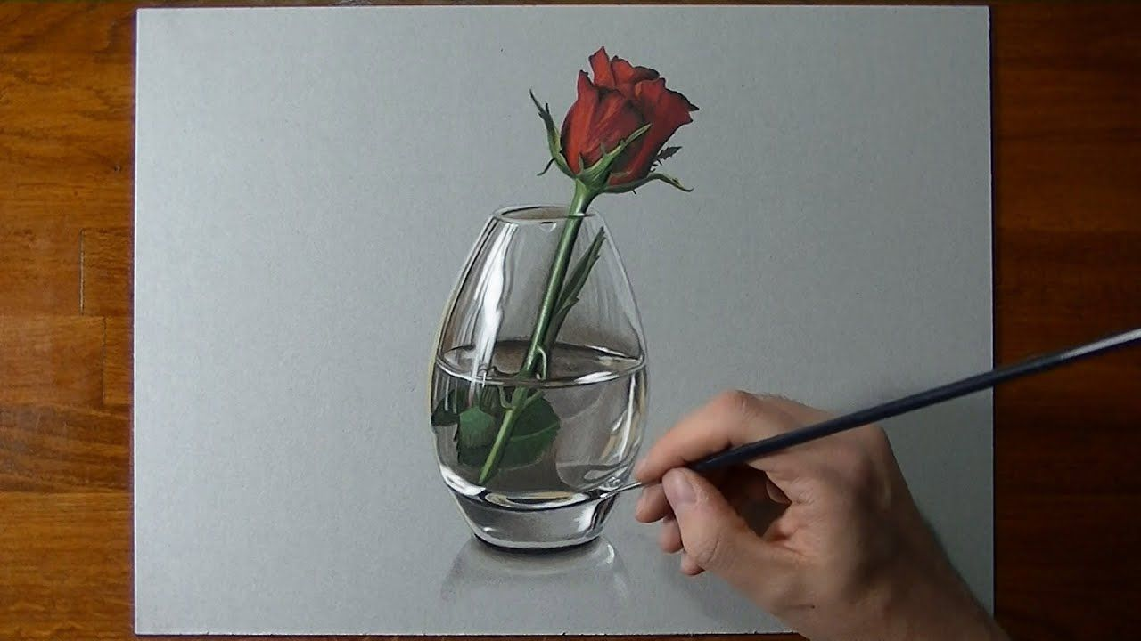 Drawing Time Lapse A Red Rose In Glass Vase Roses Drawing Flower Drawing Wall Art Crafts