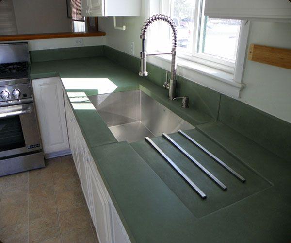 Kitchens Green Countertops Countertops Concrete Kitchen