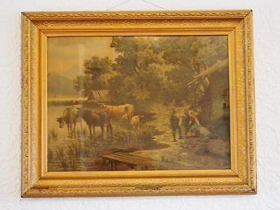 Beautiful Antique Victorian Era Print of Cattle/Farm Scene in Ornate Old Frame