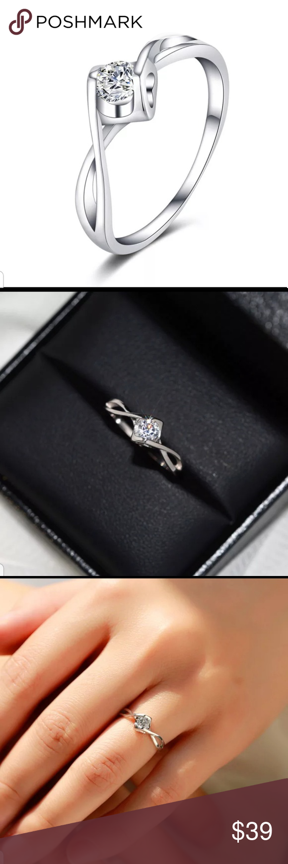 925 Silver Crystal Zircon Stone Ring heart Luxury Female Small Round Engagement ... #Crystal #engagement #Female #heart #Luxury #Ring #silver #Small #Stone #Zircon