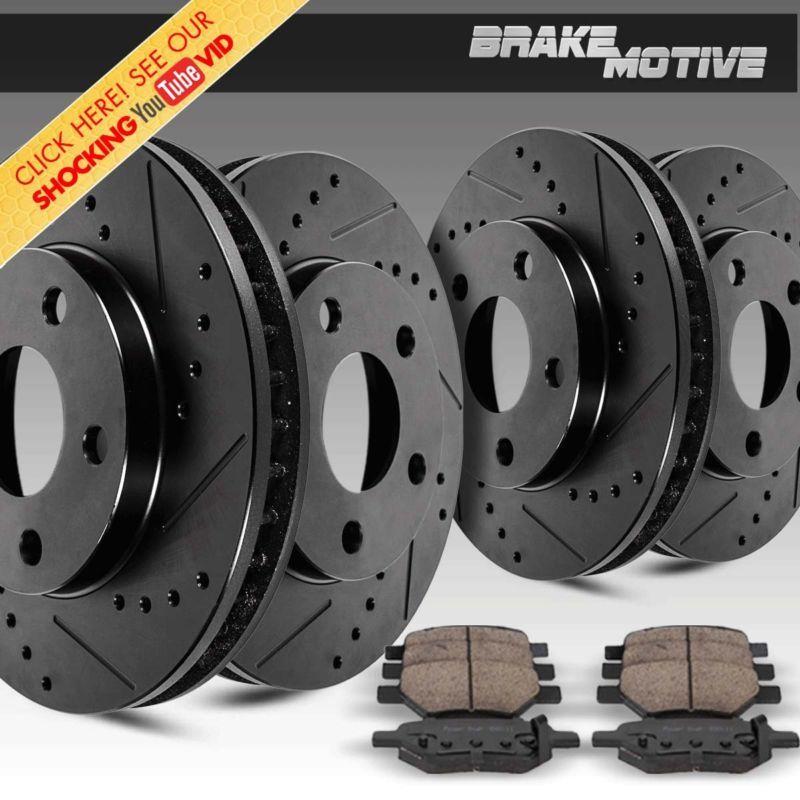 For 2012 Honda Crosstour Front Rear Black Drilled Brake Rotors+Ceramic Pads