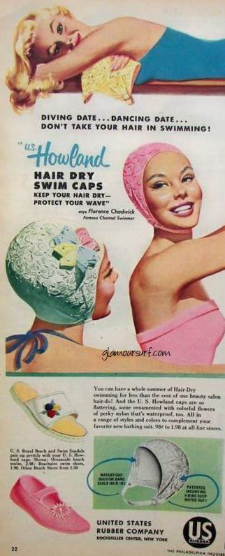 Mid Century Myrtle 1950 S Pink U S Howland Swim Cap Hair Dry Vintage Swim Swim Caps Retro Swimwear