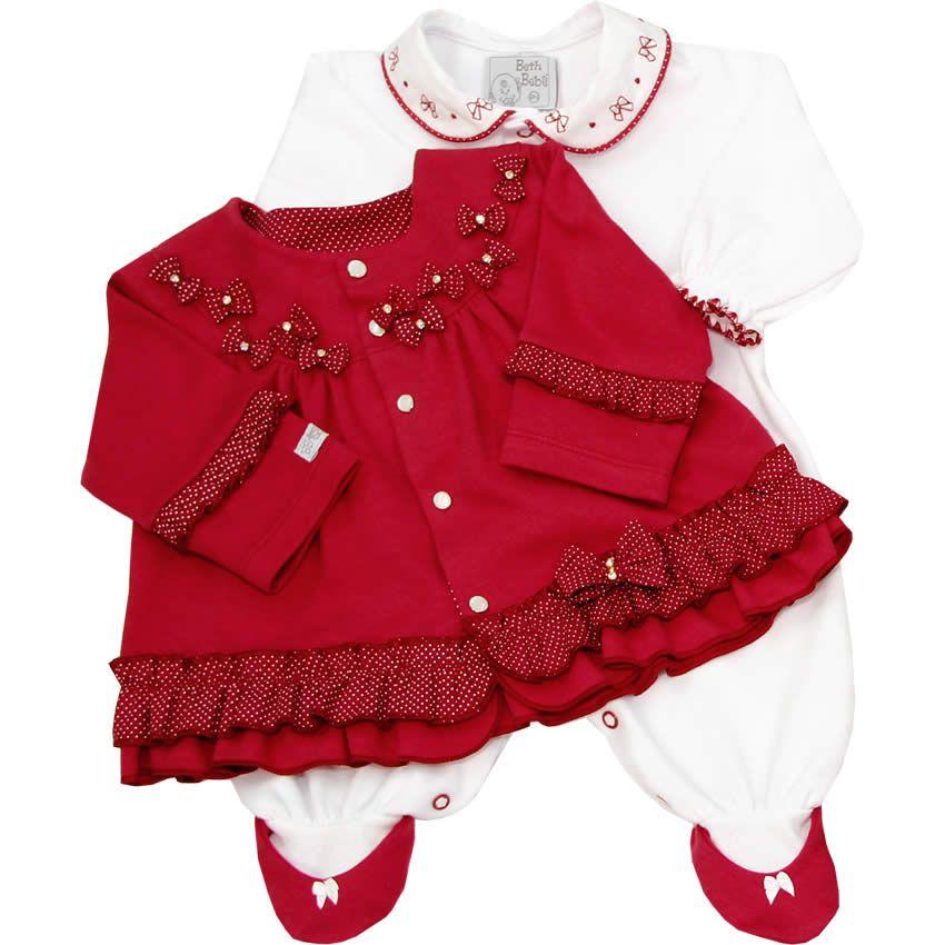 b1aaaeed4d Macacão Beth Bebê Recém Nascido e Bebê Menina com Casaco Vermelho - Beth  Bebê    764 Kids
