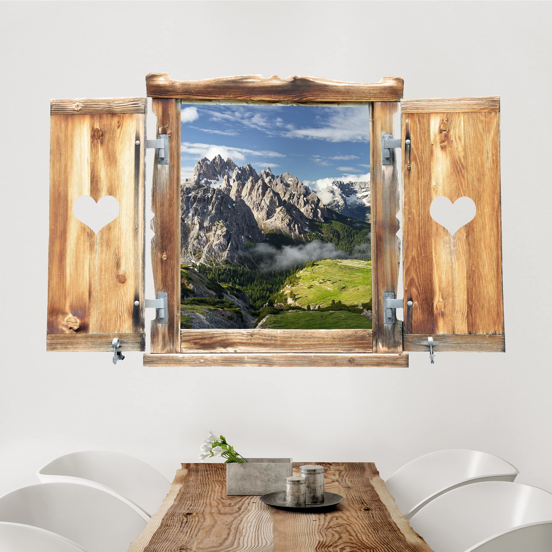 Adesivo Murale Finestra Tirolese Su Paesaggio Mozzafiato Adesivi Murali Murale Decorazioni Esterne