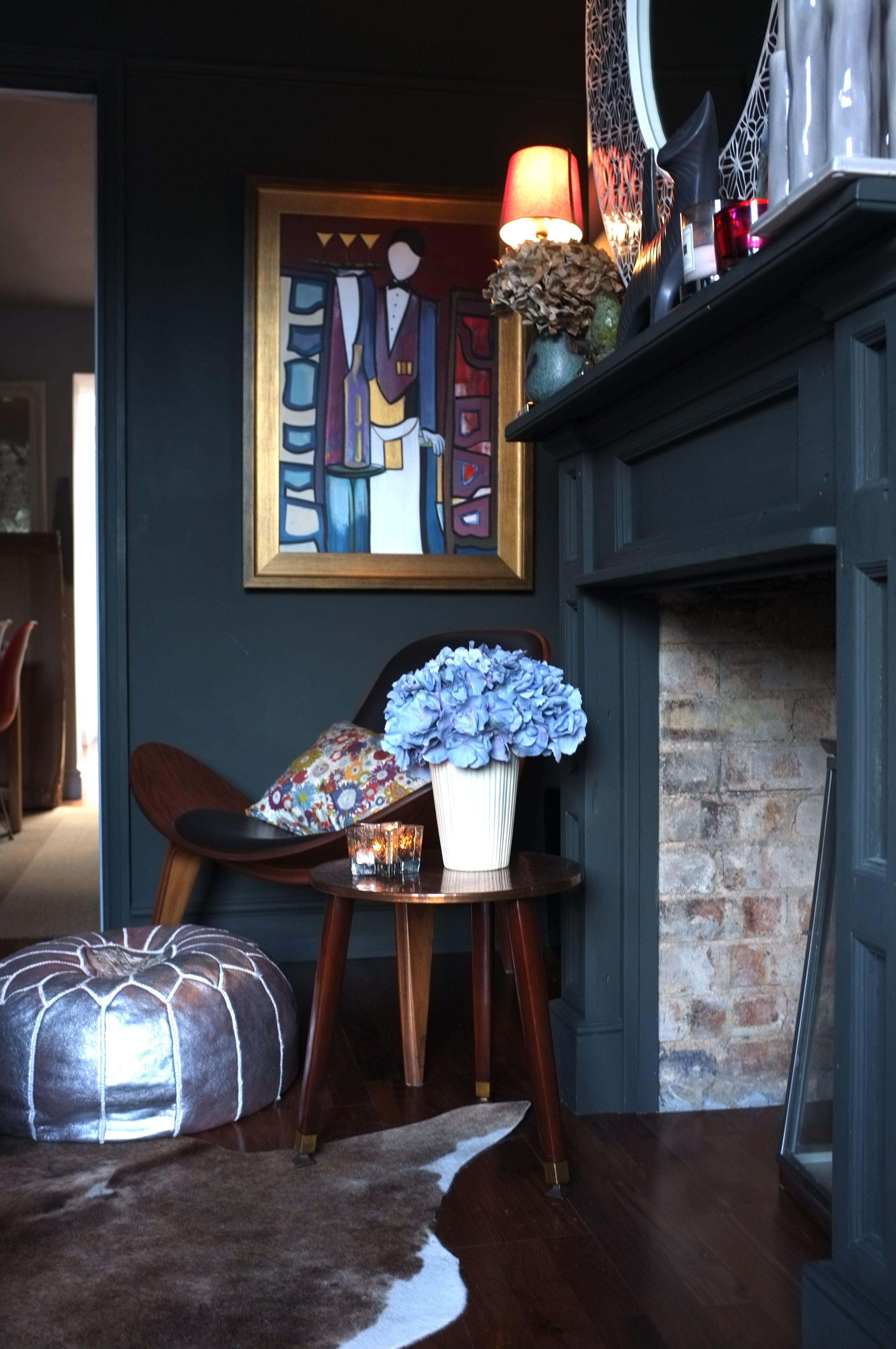 My living room painted head to toe in Farrow & Ball Studio Green