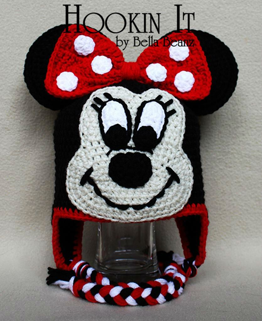 Minnie Mouse Inspired Crocheted Hat | CROCHET CHARACTER HATS ...