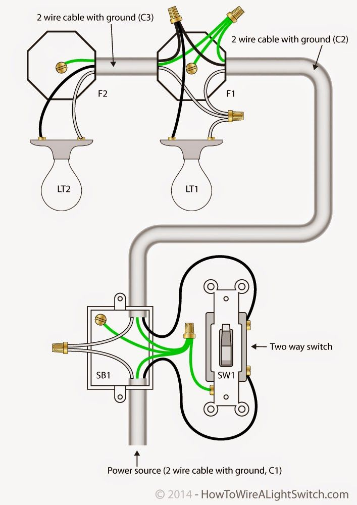 Electrical Engineering World: 2 Way Light Switch with Power Feed via ...