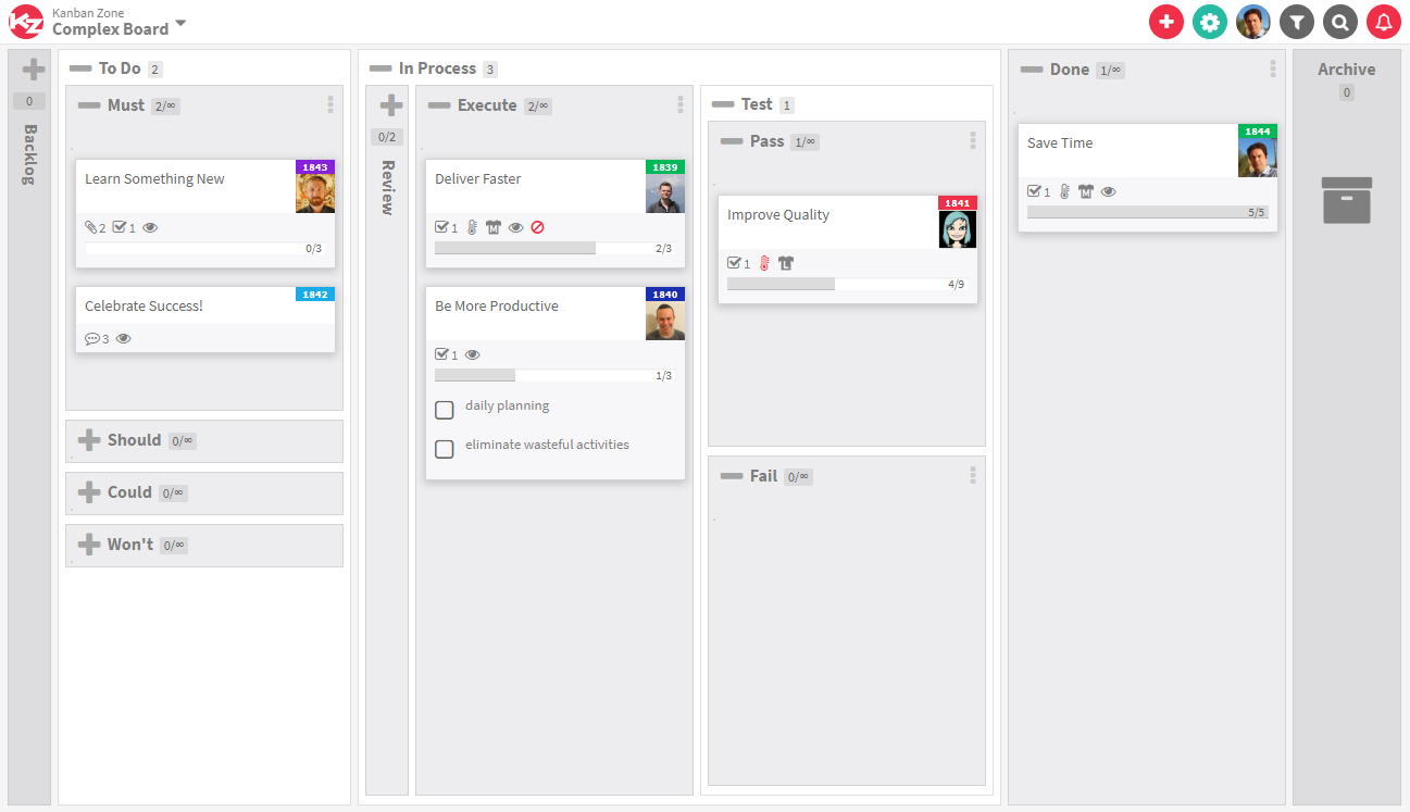 Kanban complex board example Template from KanbanZone