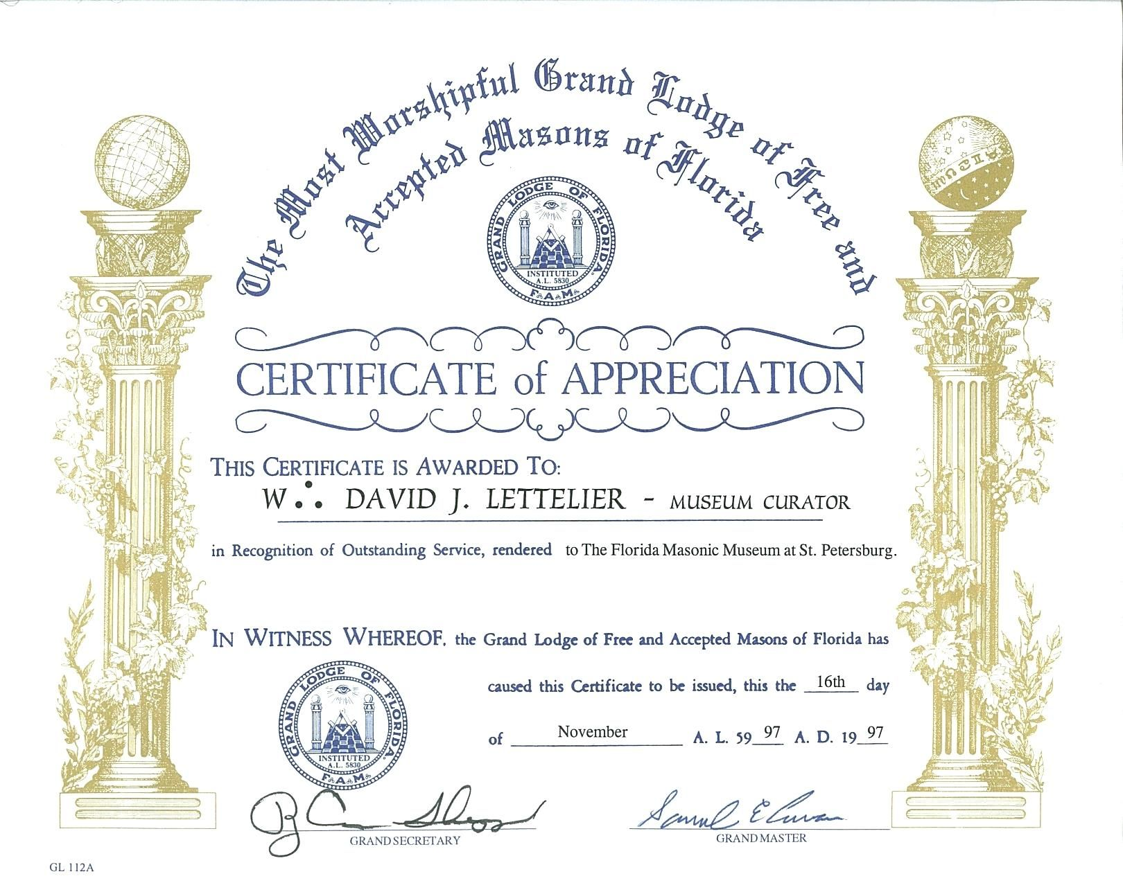 The Marvelous Masonic Certificate Template Free Certificatetemplatefree Throug Certificate Of Appreciation Certificate Templates Awards Certificates Template