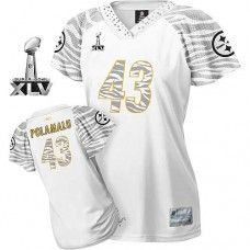 afb3a2c94 Steelers  43 Troy Polamalu White Women s Zebra Field Flirt Super Bowl XLV  Stitched NFL Jersey