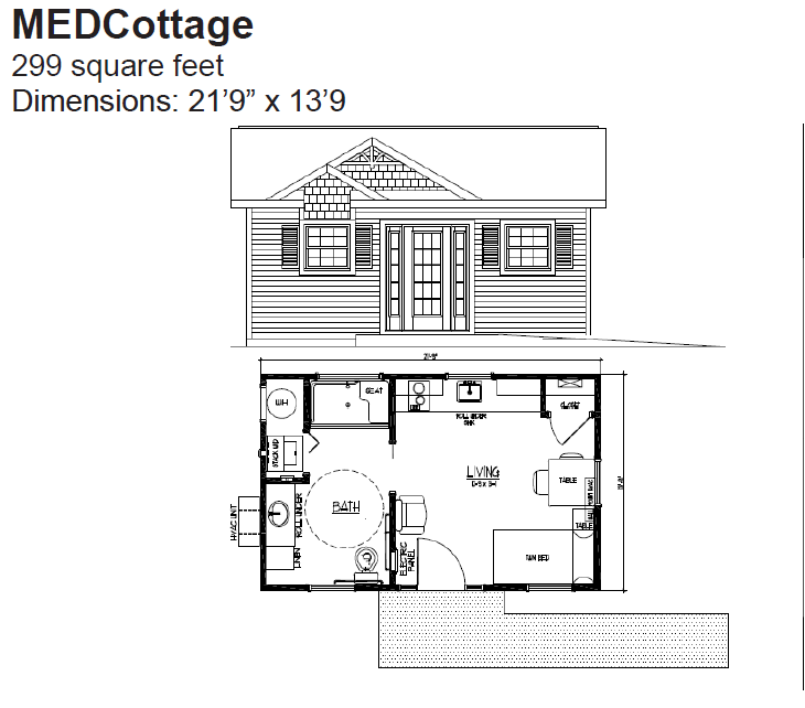 Medcottage Floor Plan Granny Pod Backyard Cottage Cottage