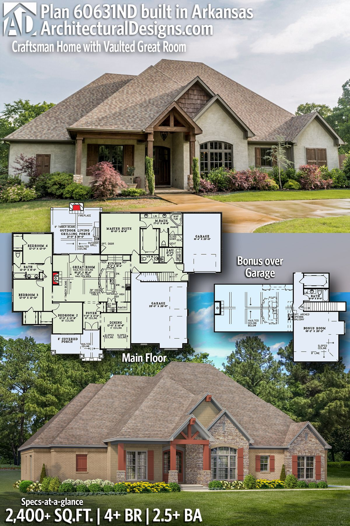 Architectural Designs House Plan 60631ND shown built