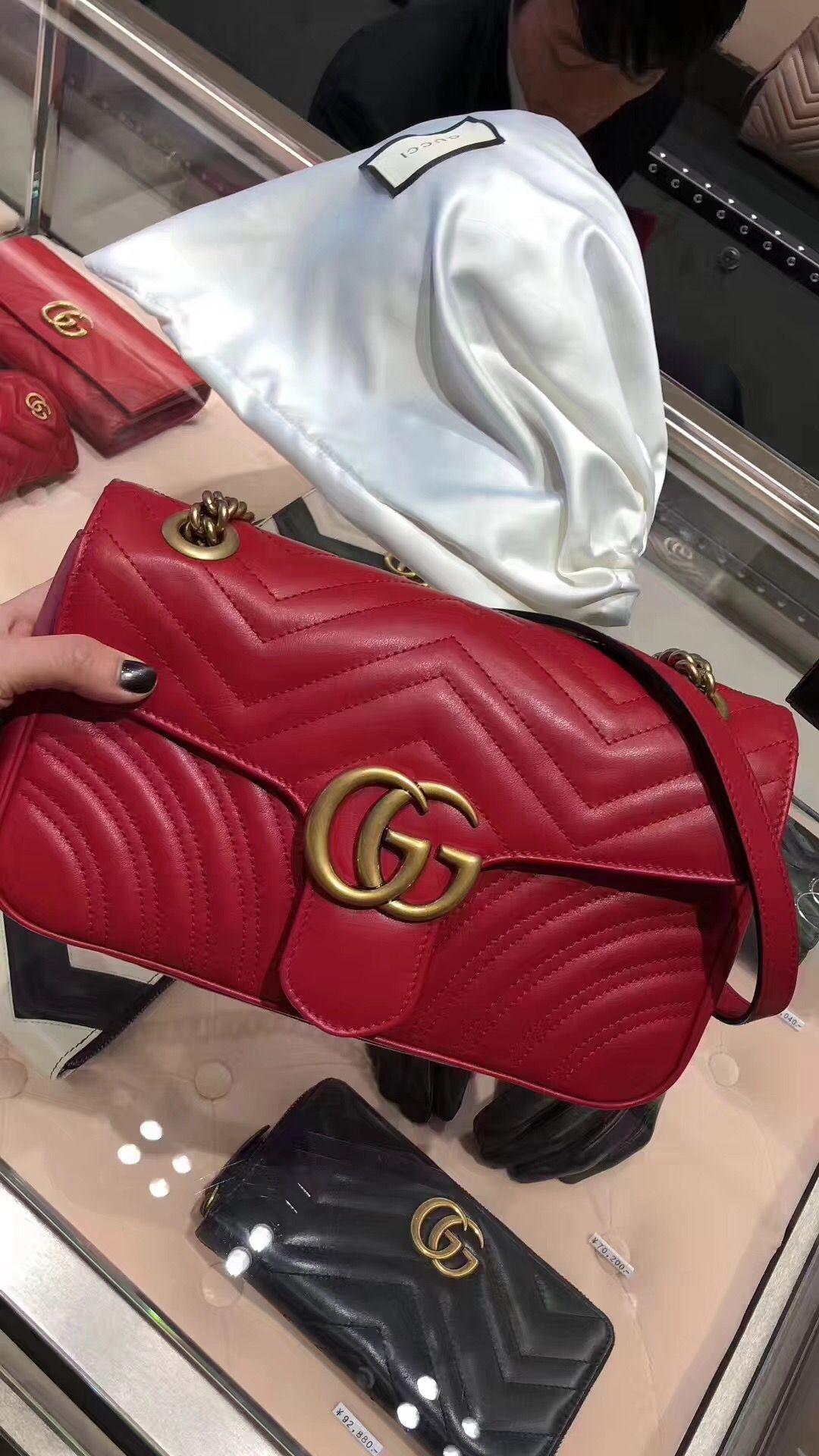 2b9f124862a9 Gucci Chain Shoulder Bag 443497 Red - $425.00 | discount price gucci ...