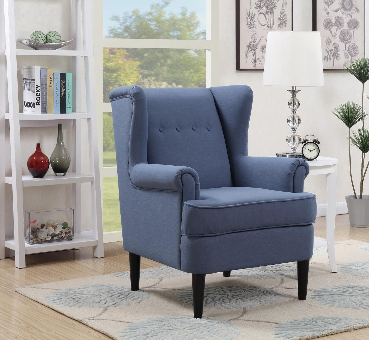 Best Waller Blue Wingback Accent Arm Chair Blue Accent Chairs 400 x 300