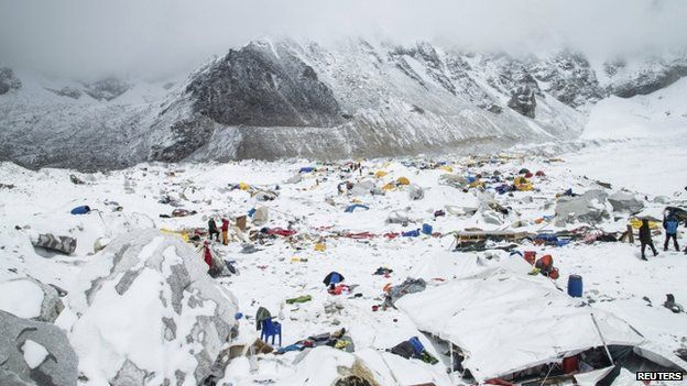 The Mount Everest south base camp in Nepal is seen a day after a huge earthquake-caused avalanche killed at least 17 people, in this photo courtesy of 6summitschallenge.com taken on 26 April 26 2015.