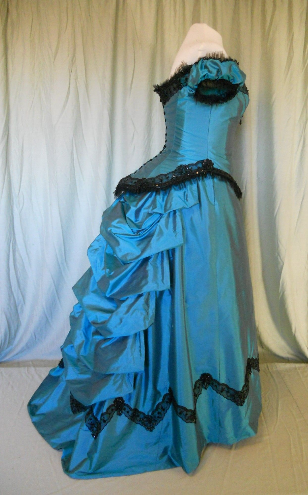 Victorian Ball Gowns Victorian Bustled Ball Gown in Teal