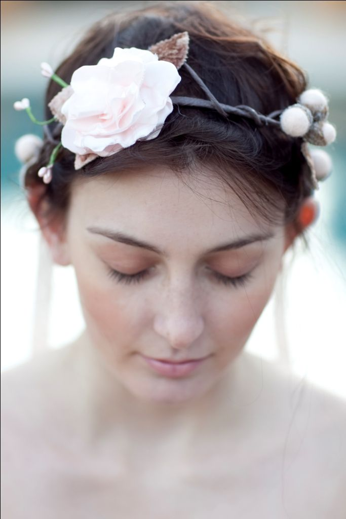 Woodland-style head wreath, featuring a lush handmade bloom, velvet millinery leaves, and felted wool acorns with real acorn caps.  design by Heather Murdock of The Blue Orchid (image by Silvana di Franco Photography)