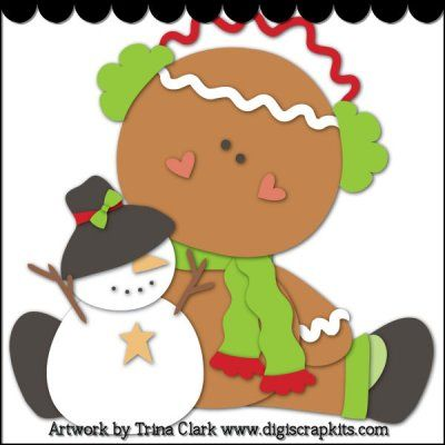 Christmas Gingers 1 Cutting File : Digital Scrapbook Kits, Cute Clip Art, Cutting Files, Trina Clark, Instant downloads, commercial use allowed, great prices.