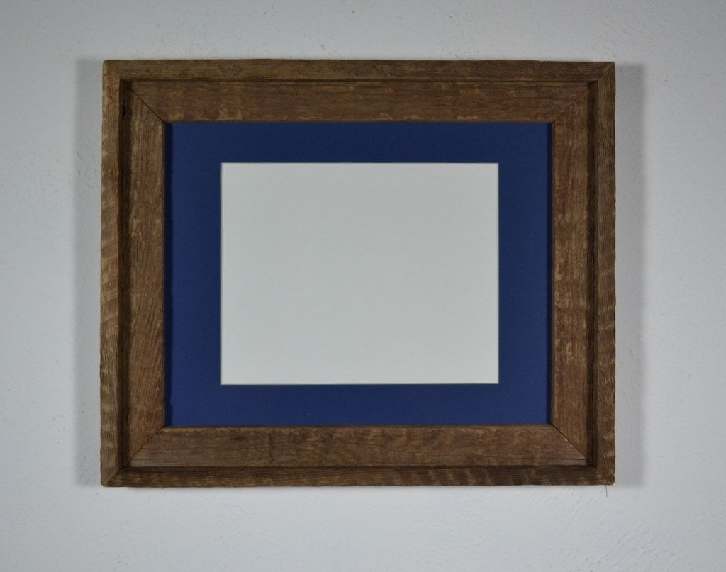 Barnwood Picture Frame 11x14 With Blue 8x10 Mat Textured Wood 48 00 Via Etsy Reclaimed Wood Picture Frames Picture On Wood Wood Picture Frames
