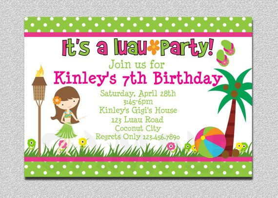 luau birthday party invitations free printable luau pinterest