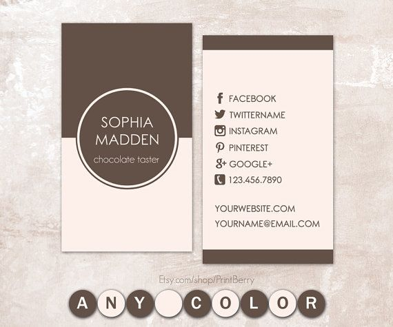 Printable business card modern business card social media card printable business card modern business card social media card design template by printberry accmission Gallery