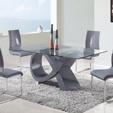 Impress Rectangular Shaped Glass Expendable Dining Table With Stainless Steel Le Contemporary Dining Room Sets Modern Glass Dining Table Modern Dining Room Set