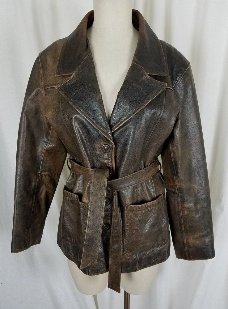 Wilsons Leather Distressed Weathered Brown Belted Sash