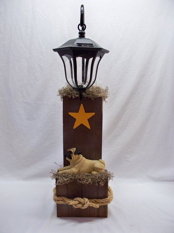 pug dog decorative landscape solar light use by kraftedcreations