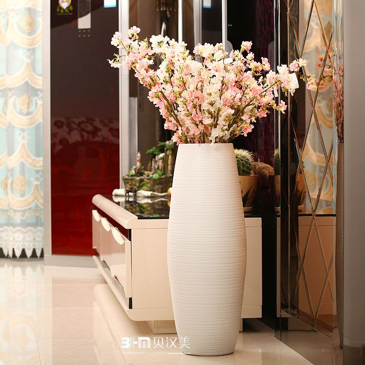 Pure white lines pattern large floor vases sale for hotel for Floor vase filler ideas