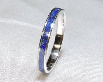 Titanium Ring Lapis Lazuli inlay Titanium ring and Lapis lazuli