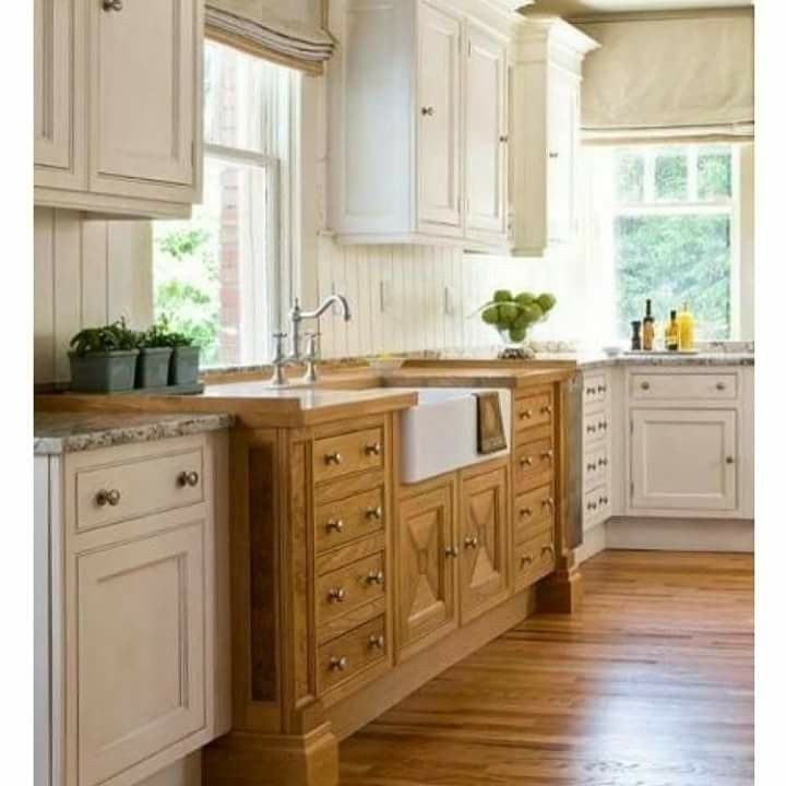Painted Furniture And Cabinets Mixed With A Bit Of The Wood Look Has Become A Popular Tren Kitchen Sink Decor Kitchen Backsplash Designs Kitchen Cabinet Design