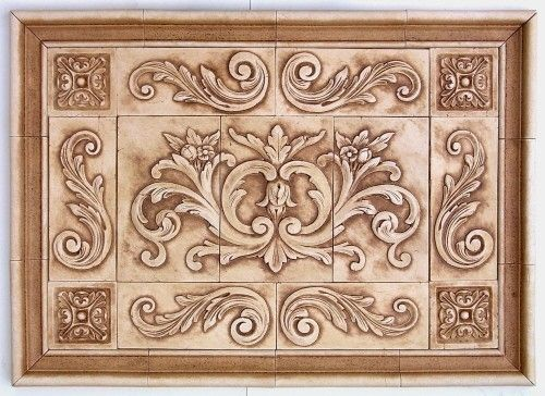 Decorative Tile Medallions Floral With Scrolls Medallion And Plain Frame  House Ideas