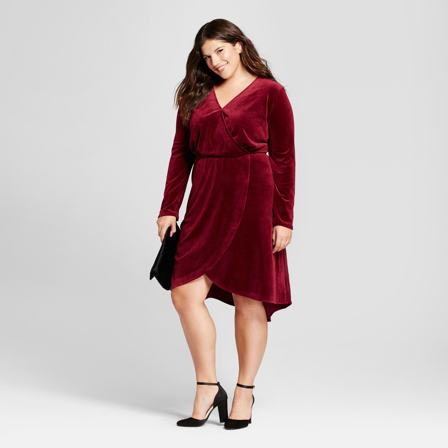 Women\'s Plus Size Velvet Wrap Dress - A New Day™ Red ...