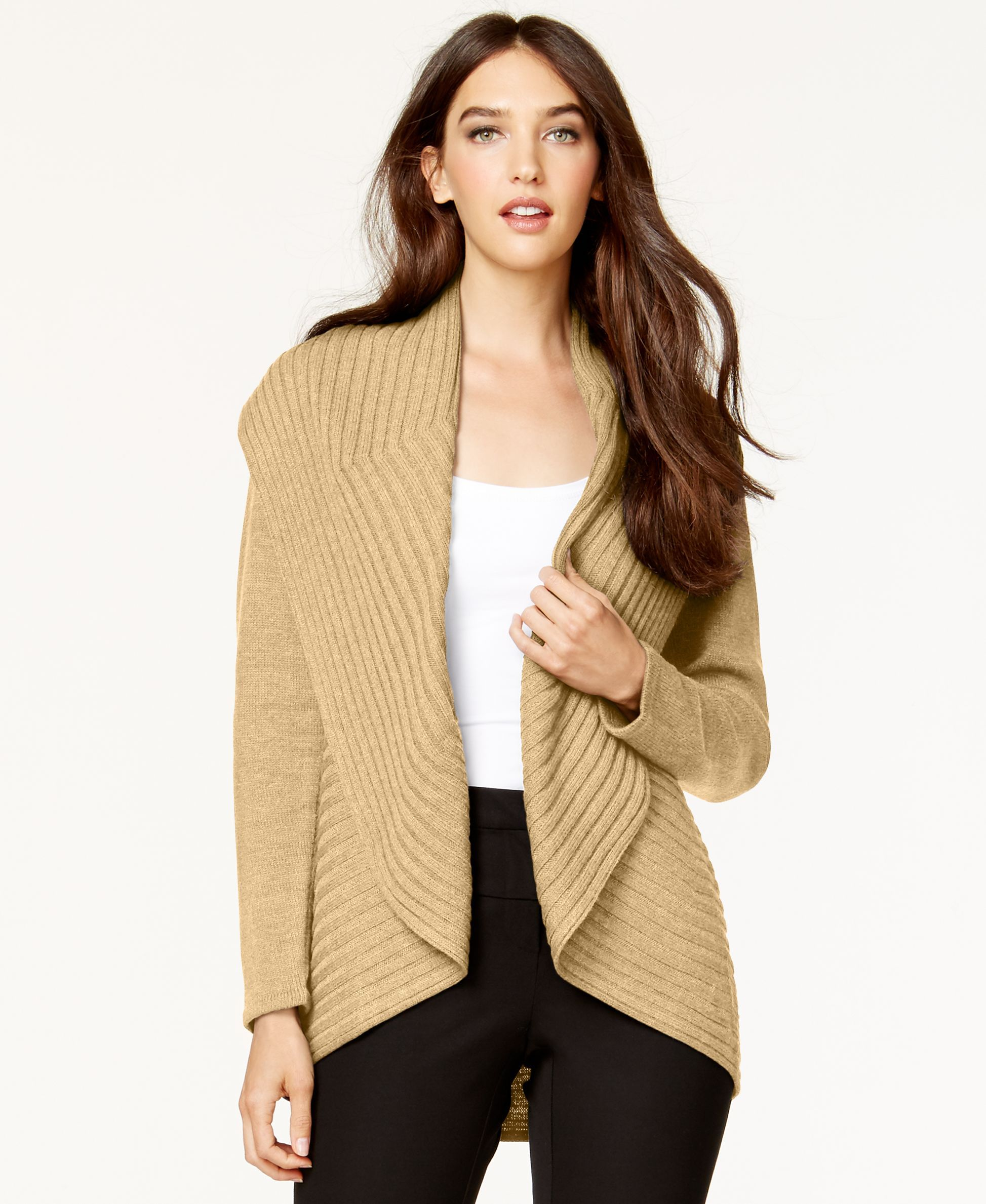 Alfani Ribbed Cascade Cardigan, Only at Macy's | Products ...