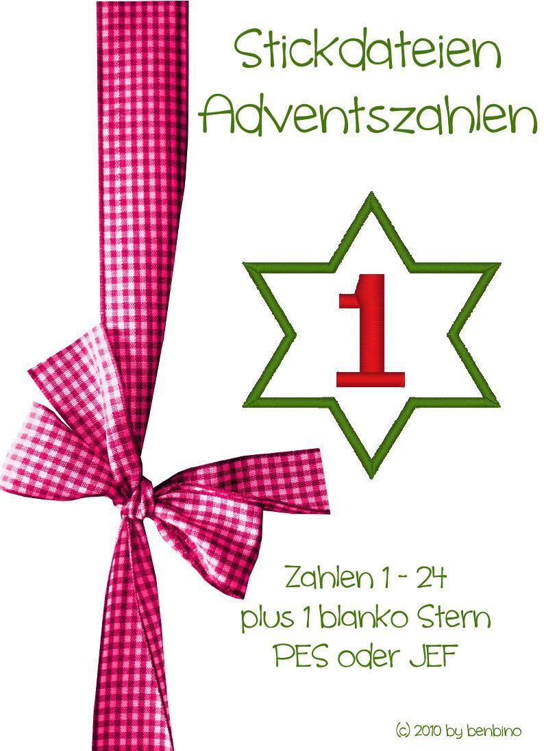 Adventskalender Zahlen Stickdatei JEF PES Freebie kostenlos download ...