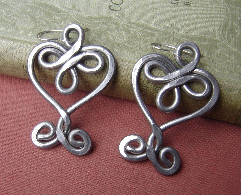 Very Big Celtic Heart Earrings, Light Weight Aluminum Big Heart ...